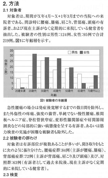 健常者と非特異的腰痛症並びに背部病症者に おける仙腸関節変位像の統計的分析※ 一筋骨格系疾患の発症機序を考えて(第一報)一の表紙